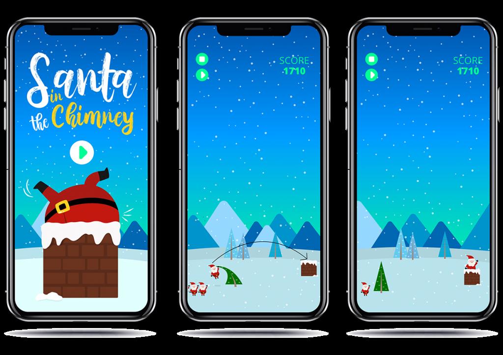 Smartphone mockup for Santa In The Chimney Game