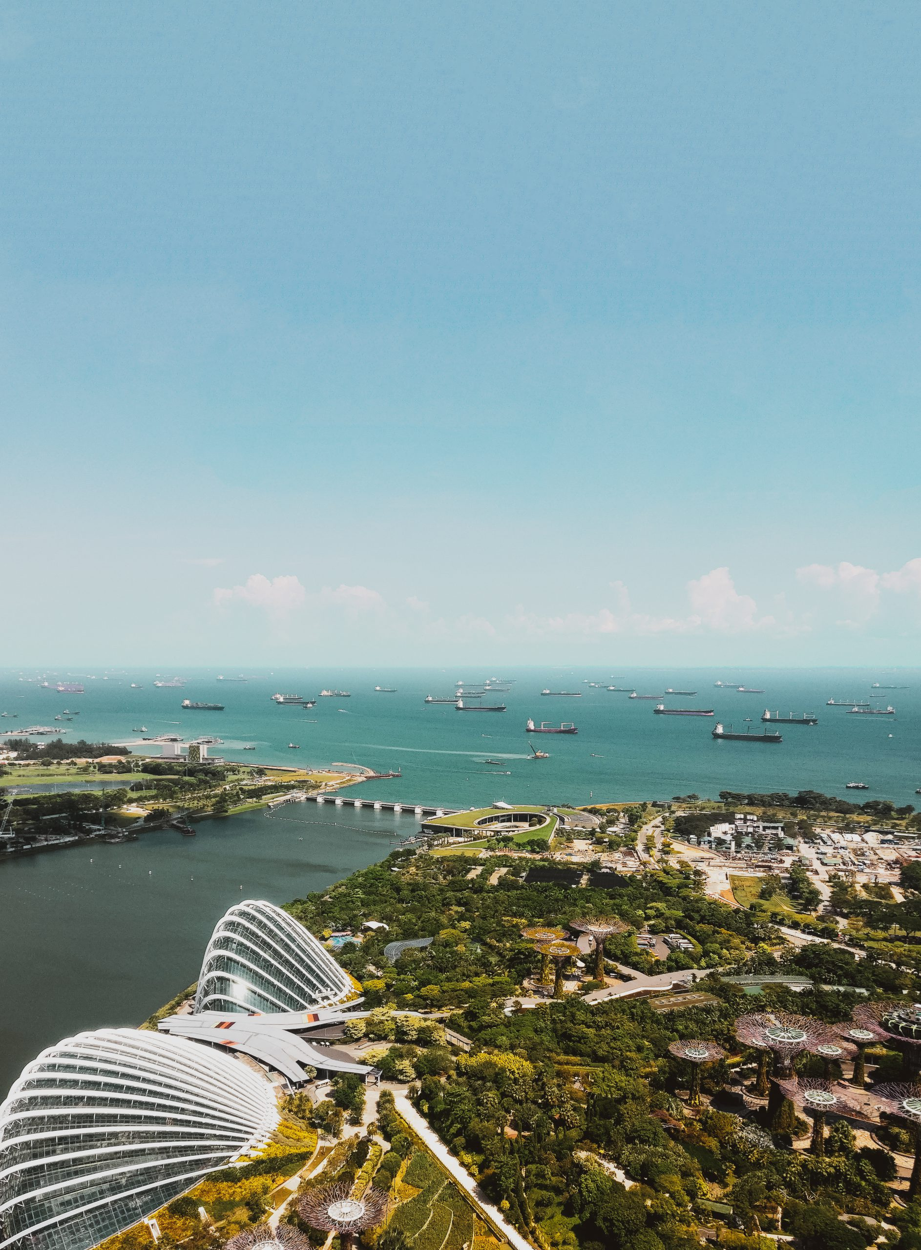 Aerial shot of buildings near marina bay sands