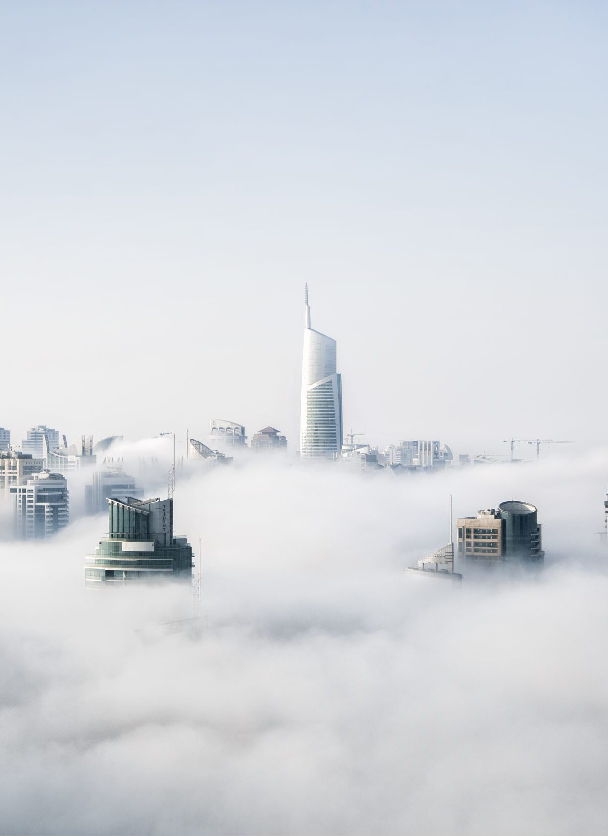 architecture buildings covered with thick fog