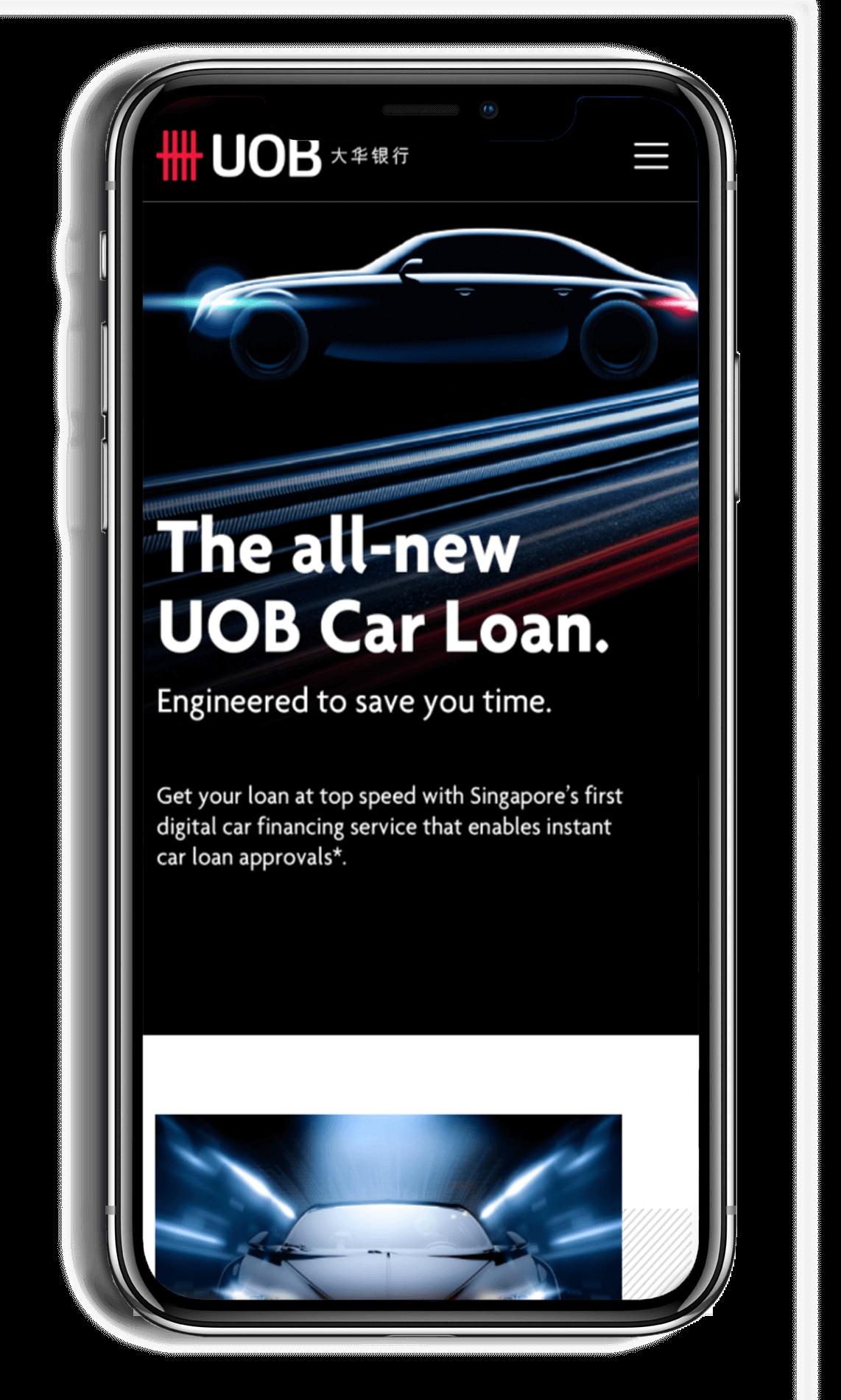UOB Car Loan Microsite On Smartphone showing the all-new UOB car loan