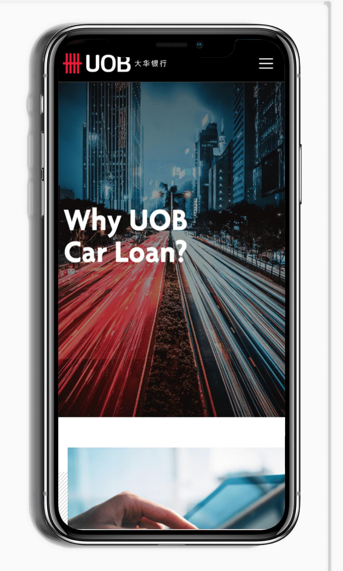 UOB car loan microsite on smart phone - why UOB car loan