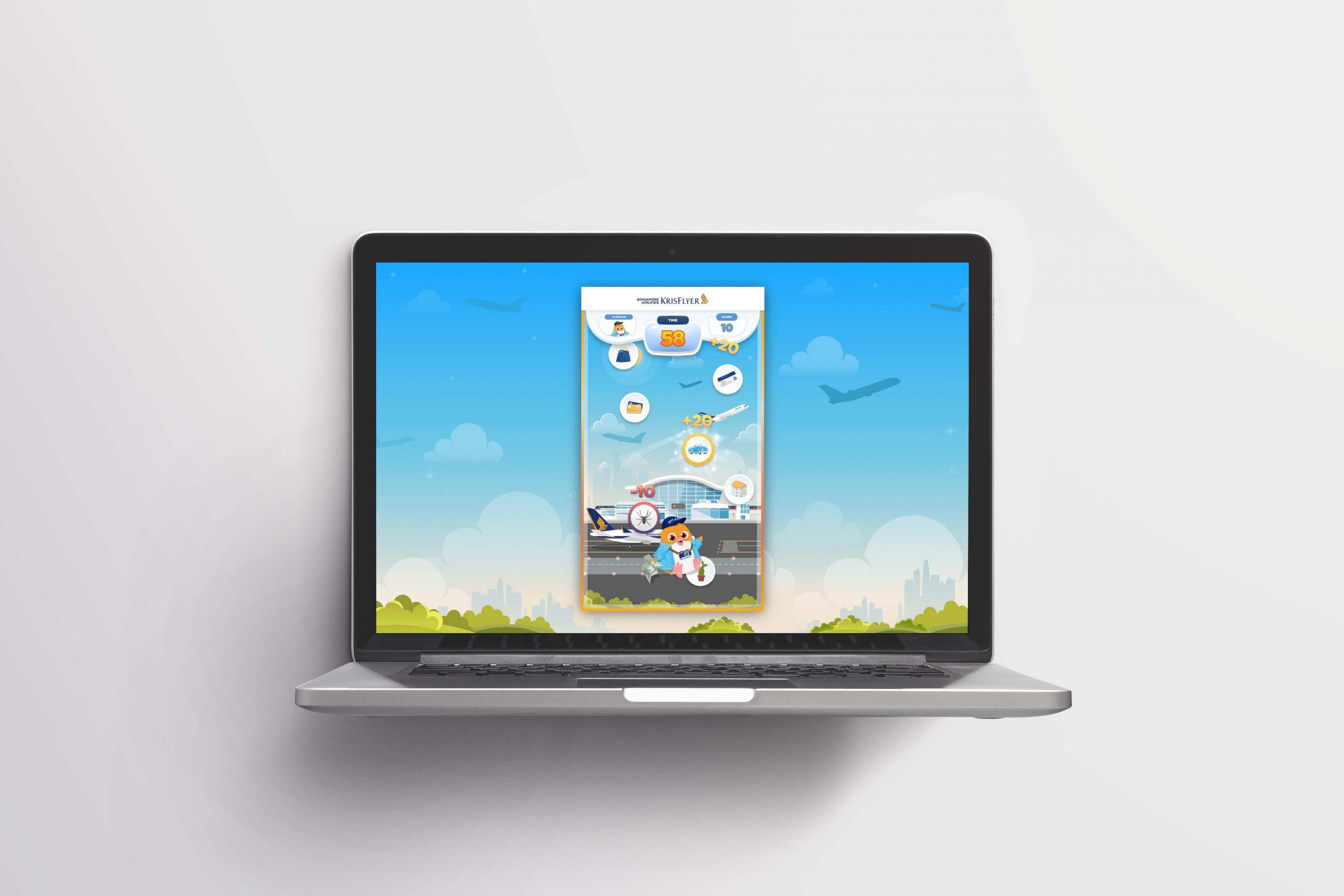 Laptop mockup for krisflyer game of myles microsite game