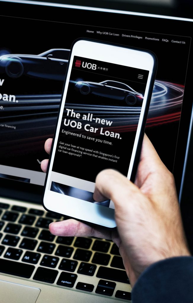 UOB Car Loan Microsite On Both Laptop And Smartphone, showing the all-new UOB Car Loan