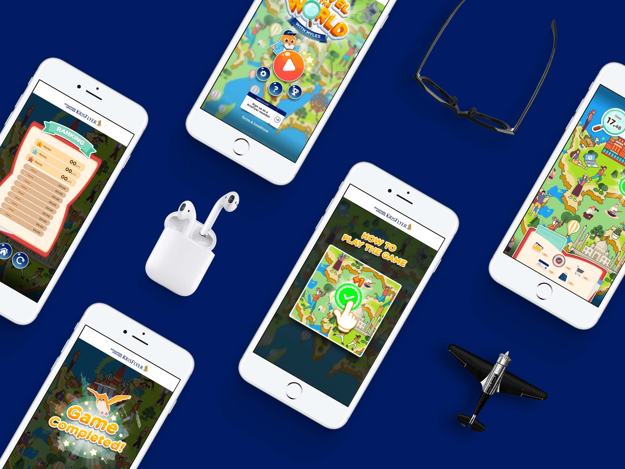 Mock up for krisflyer travel the world with myles microsite game