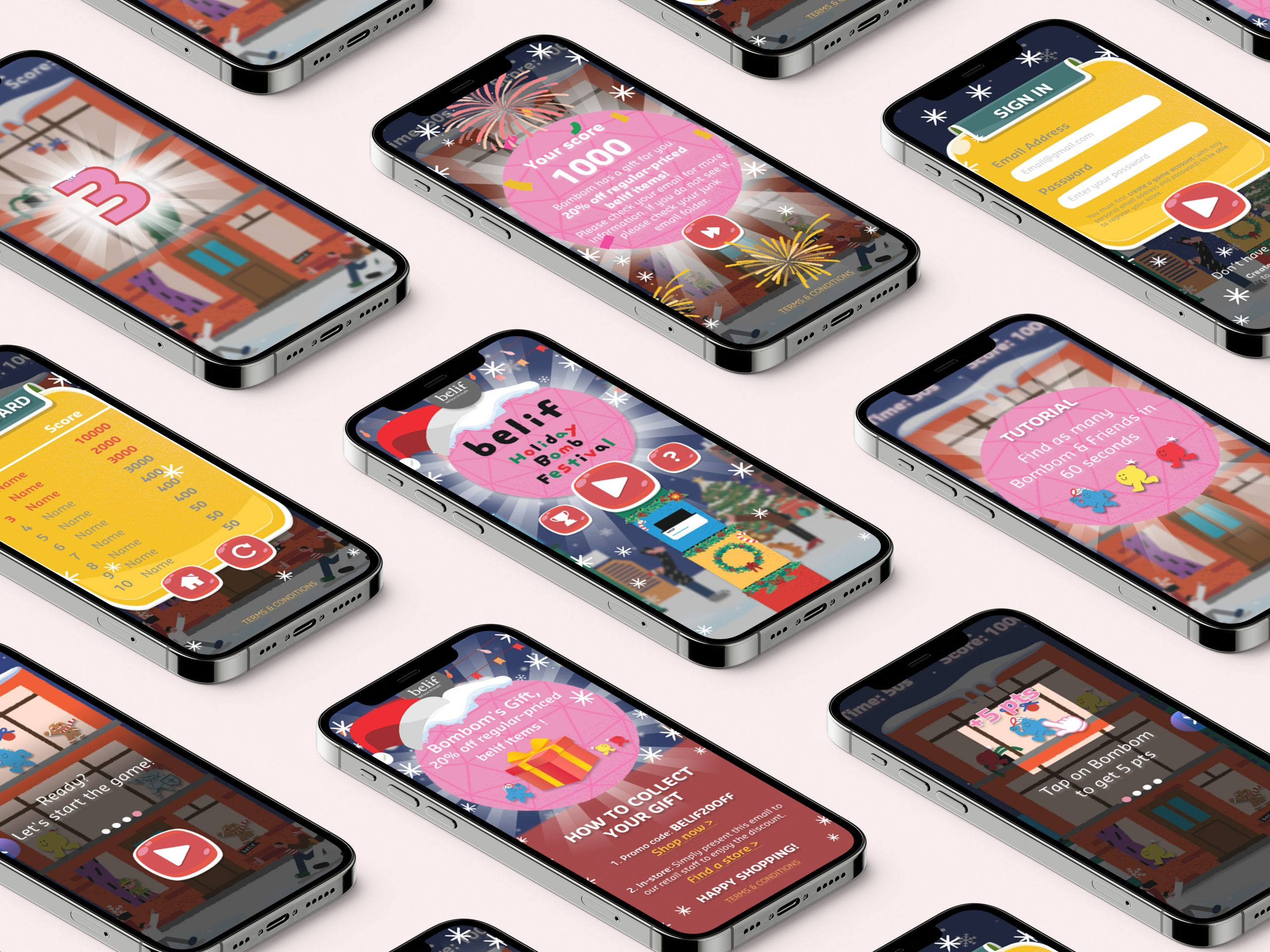 iPhone 12 Pro Max Mockup For Belif Holiday Bomb Festival Microsite Game